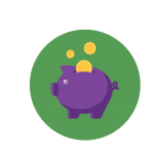 illustrative icon of a piggy bank to represent savings