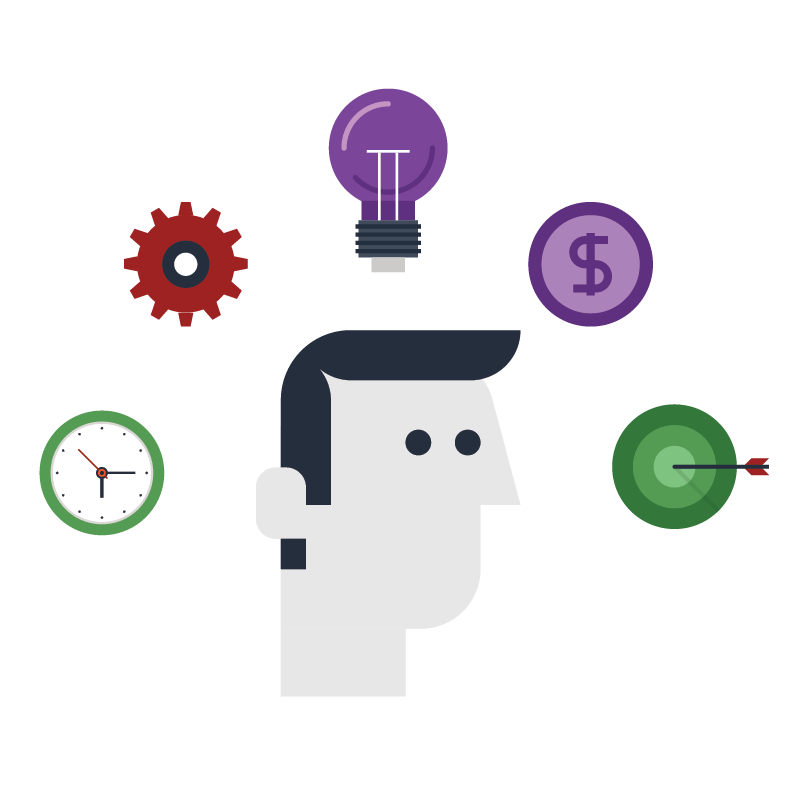 man head with many options around icon